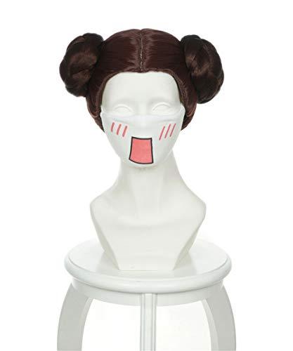 Leia Mit Kostüm Perücke Prinzessin - Manfis Star Wars Prinzessin Leia Cosplay Perücken-Halloween Kostüm Fashion Cosplay Perücke Verrücktes Kleid Haar Zubehör für Erwachsene