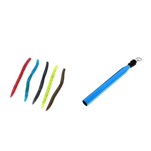 Sharplace Angeln O-Wacky Werkzeug und O-Ringe mit Weiche Regenwurm Kunst Köder - Angeln Köder Blau (Verrückte Oring)