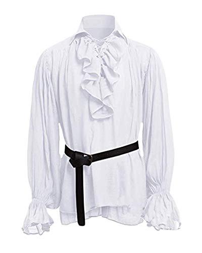 Manga Larga Hombre Steampunk Camisa Casual Camiseta Top Gótico De Los Hombres Sin Cinturon Blanco 5XL...