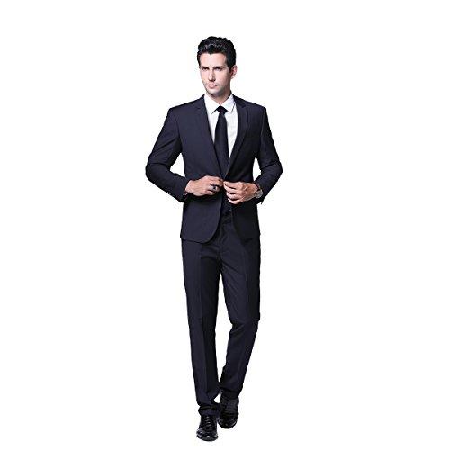 Herren Business Anzug 1-Knopf-Anzugjacke mit Anzughose (Anzug Schwarz 3-knopf Herren)