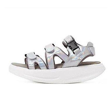 zhENfu Donna Sandali primavera presepe Comfort scarpe in pelle di maiale grigio Casual bianco argento Silver