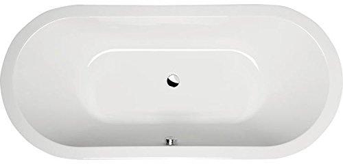 Oval-Badewanne Viviane O 185 x 80 cm weiß Acryl Komplettset mit Wannenträger und Ablaufgarnitur