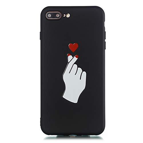 Everainy Funda Compatible para iPhone 7 Plus/iPhone 8 Plus Silicona Carcasa TPU Suave Caso Goma Caucho Bumper Delgado para iPhone 7 Plus/iPhone 8 Plus Ultrafina Negro Antigolpes Cover (Amor 2)