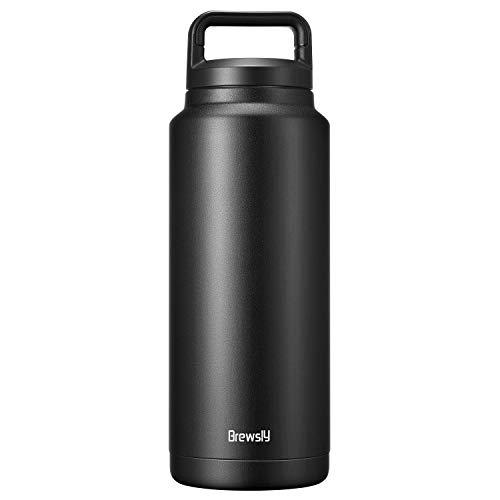 brewsly bottiglia termica, termos caffe in acciaio inossidabile isolamento sottovuoto a doppia parete, processo di verniciatura a polvere, 1000ml, nero