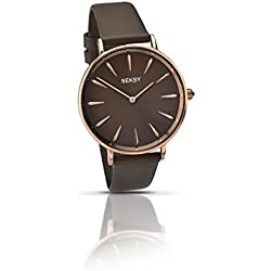 Seksy Women's Quartz Watch with Brown Dial Analogue Display and Brown Leather Strap 2010.37