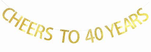 Gold Glitzer Banner für 40. Geburtstag, Ruhestand, Hochzeit Anniversary Party Wimpelkette Foto Requisiten Dekorationen ()