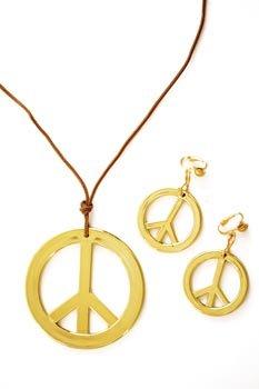 Hippie Peace Zeichen Ohrringe - Peace-Set, Kette+Ohrringe,