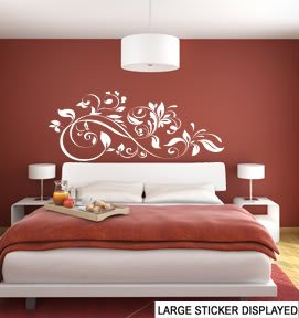 Decorativo Diseño de flores arte de la pared Pegatinas de Vinilo-por favor Elija el tamaño y de color utilizando el menú de abajo, Rojo, Large 110cm x 52cm - £14.99