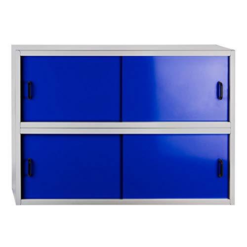 Stahlblech-Wand-Hängeschrank mit 4 Schiebetüren, BxTxH: 915x300x645 mm, grau/blau