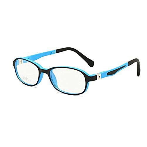 Enzodate occhiali per bambini frame tr90 misura 44-15 sicuro pieghevole con cerniera a molla flessibile ottico ragazzi ragazze bambini occhiali lenti trasparenti (blu nero)