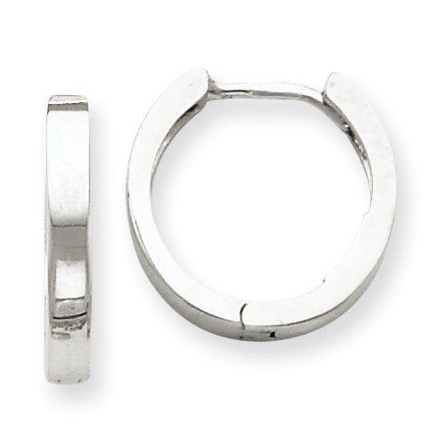 14k oro bianco incernierato Hoop Orecchini da UKGems - 14k White Gold Hinged Hoop Earring by UKGems