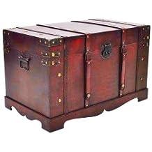 Gran cofre del tesoro de madera en estilo antiguo