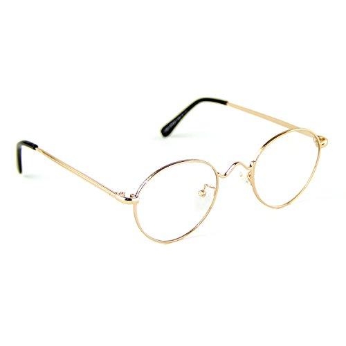 Cyxus runde brille transparente linse,gewöhnliche gläser retro mode unisex brillen, (gold rahmen) kein grad der gläser [klar linse]