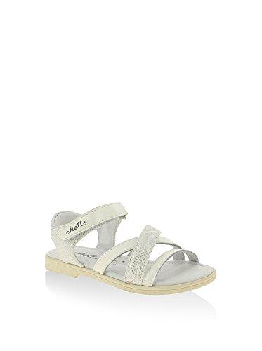 Sandale en cuir pour fille bande croisées et brillantes - blanc