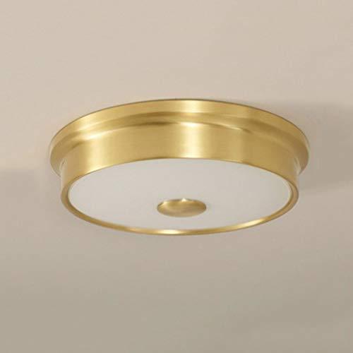 Kreative Deckenleuchte JIAQI Hohe Qualität Kupfer Deckenleuchte Runde Wohnzimmer Lampe Balkon Gang Korridor Veranda Lampe 24-36 Watt Bicolor LED Deckenleuchte (Color : Gold, Size : 40cm)