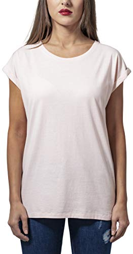 Urban Classics Damen T-Shirt Ladies Extended Shoulder Tee, Farbe pink, Größe M -