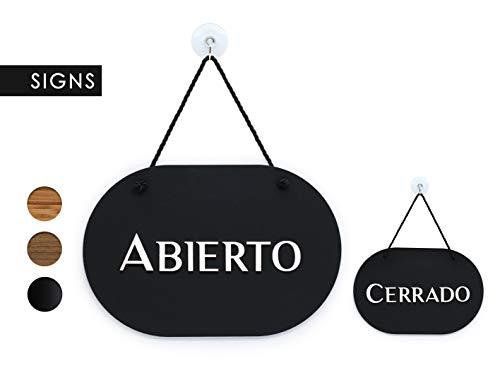 3DP Signs   óvalo con Estilo - Abierto/Cerrado - Cartel Doble Cara [OC38] - Placa de la Puerta Colgante de Doble Cara - Letrero de la Tienda Comercial Reversible