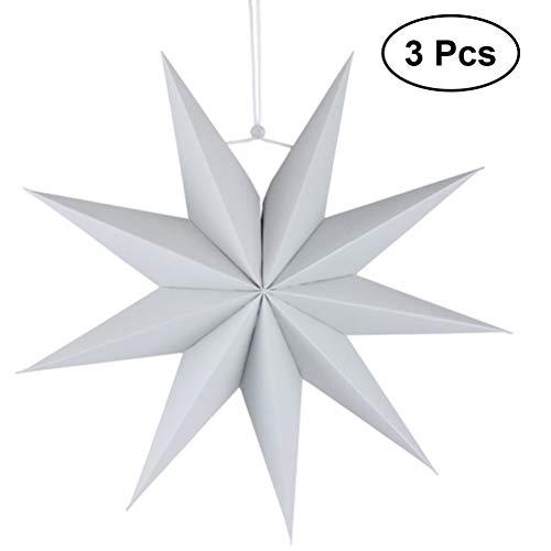 SUPVOX 3pcs Papier Lampenschirm Handmade Star Lantern Umweltfreundliche Lampe Zubehör 30cm (Grau)