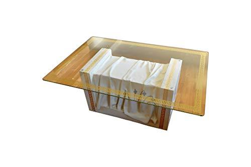 Rechteckiger Glastisch Wohnzimmertisch Tisch Couchtisch Griechischer Tisch Versa Serie Weiß Marmor Gold Mäandermuster -