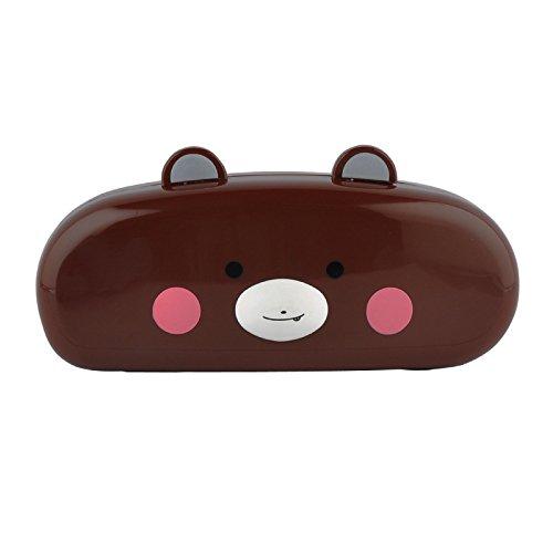 YLLY Creative Face Schlüsselanhängerform Case Süße Tier Brillenetui mit Objektiv Reinigungstuch, Plastik, Braun, 15.5x6x4cm