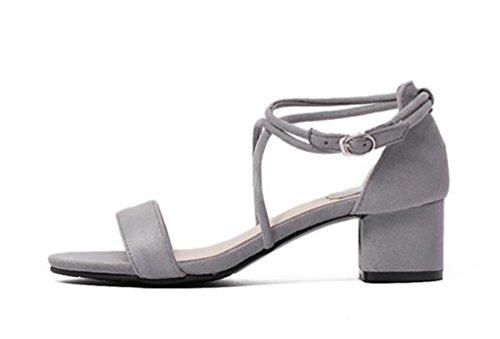 OL Sweet Cross Straps Sandalen Scrub Gürtel Dekoration Chunky High Heel Open Toe Hollow Casual Frauen Schuhe EU Größe 35-39 Grey