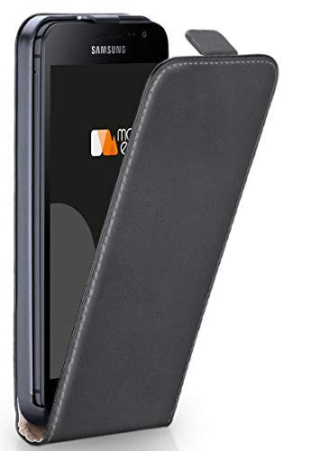 moex® Flip Case mit Magnetverschluss [Rundum-Schutz] passend für Samsung Galaxy Xcover 4 | 360° Handycover aus feinem Premium Kunst-Leder, Dunkel-Grau - Dunkel Grau Leder