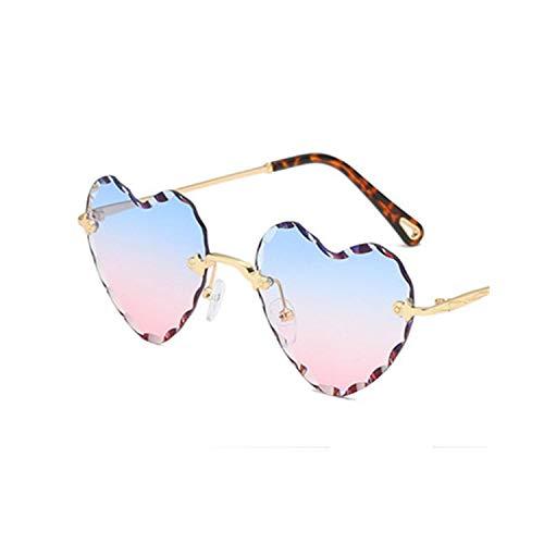 FGRYGF-eyewear2 Sport-Sonnenbrillen, Vintage Sonnenbrillen, Heart Rimless Modis Sunglasses Oculos Vintage Women Brand Designer NEW Trending Sun Glasses High Quality Festival Gift C7 BluePink
