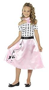 Smiffys-24668L Disfraz Falda Vuelo años 50, con Vestido, Gargantilla y cinturón, Color Rosado, L-Edad 10-12 (Smiffy