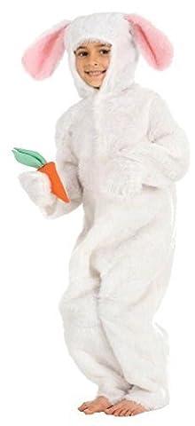 Jungen Mädchen Weiß Braun Osterhase Alice im Wunderland Einteiler Kinder Tier Kostüm Kleid Outfit - Weiß, 10-12 years (152cms)