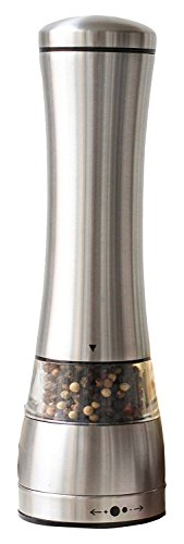 IKTU Stainless Steel Black Pepper or Salt Mill Strong Ceramic Grinder Mechanism, 8.5″ L