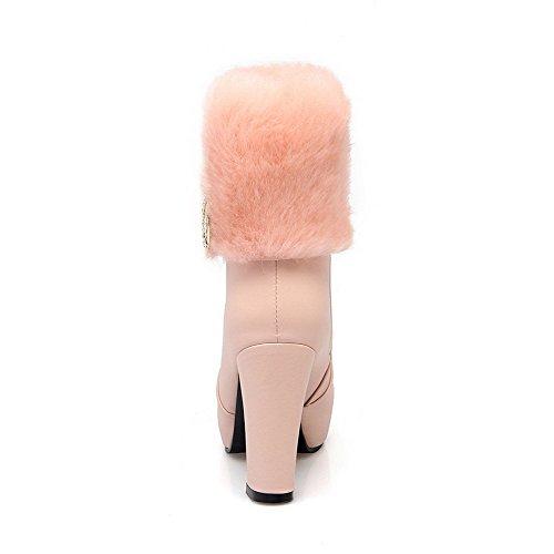 AllhqFashion Damen Hoher Absatz Niedrig-Spitze Eingelegt Reißverschluss Stiefel Pink