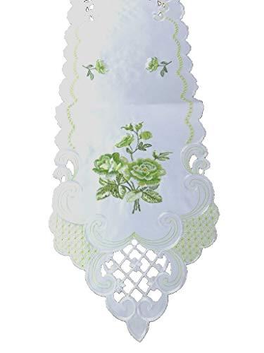 Westernranch runner da tavolo, centrotavola, rose, fiori delicati, verde e bianco ricamato, poliestere, bianco/verde, 30 x 160 cm