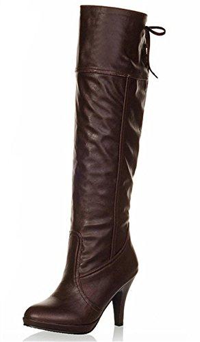 b559578fa4fe80 ... Padgene Damen Langschaft Stiefel Vintage Schnürung Stiefelletten Braun  ...