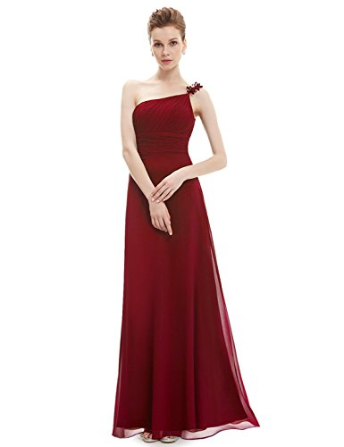 Ever Pretty Damen One Shoulder Empire Abendkleider Festkleider 09596 Rot