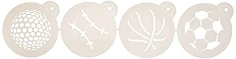 Designer Pochoirs C218Grande balle Sports Cookie Pochoirs (basket-ball–Golf–Soccer–Baseball), Beige/semi-transparent