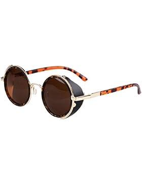Gafas Sol Unisex,Xinantime Hombre Mujere Gafas Redondo Steampunk Vintage Retro