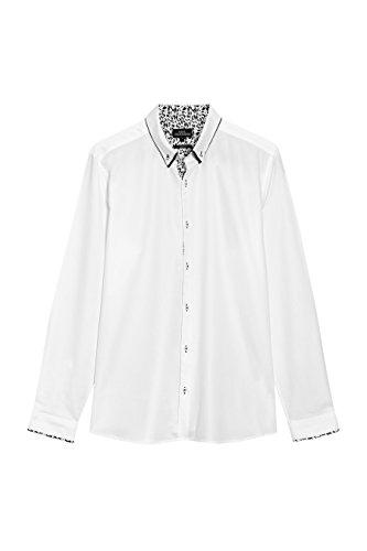 next Homme Chemise à double col Blanc