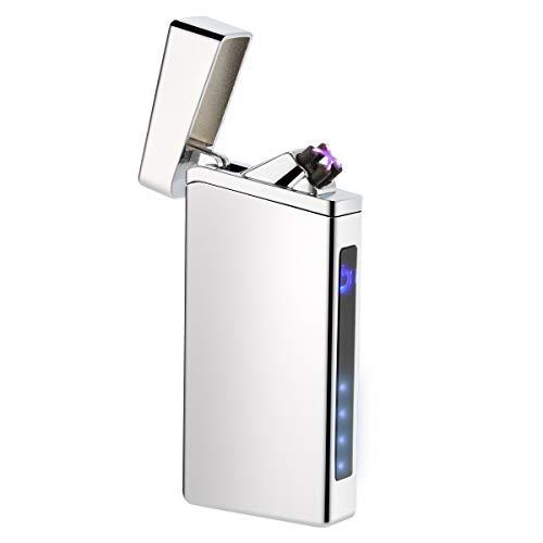 sches Feuerzeug LED Display Zigarettenanzünder Berühren Sensor Zigarettenan-zubehör mit Kreuz Doppelt lichtbogen ()
