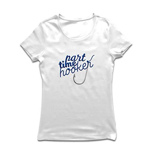 lepni.me Frauen T-Shirt Part Time Hooker, Zitate für Angler, Fischergeschenk (XX-Large Weiß - Von Bedeutung Halloween Zitate