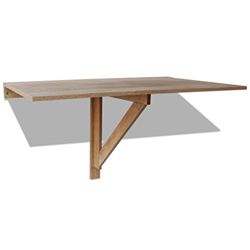 Festnight Wall Mounted Folding Table 100 x 60 cm with Load Capacity 120 kg Oak//White