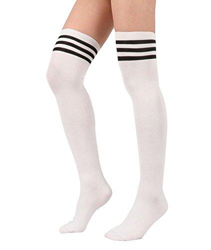 Azue Damen Mädchen Schüler Klassisch Über Knie-Lange Sportsocken Hold-up-Strümpfe Gestreift Kniestrümpfe Overknee Socken Weiß One Size C