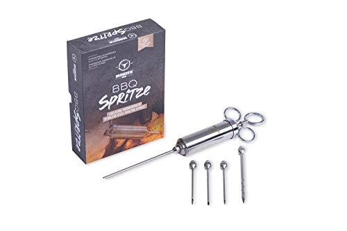 Moesta-BBQ 10396 Spritze No.1 - Edelstahl Bratenspritze inklusive 5 Nadeln für alle Anwendungen - Edelstahl Marinadenspritze