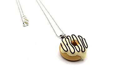 Pendentif donut fimo vanille choco, collier avec donuts polymer fait main