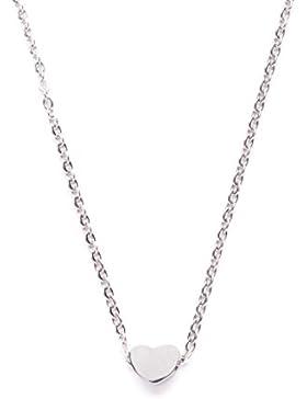 Happiness Boutique Damen Minimalist Kette Herz Charm in Silber   Elegante Halskette mit Anhänger nickelfrei