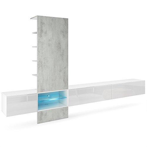 Vladon Wohnwand Anbauwand Manhattan V3, Korpus in Weiß matt/Fronten in Weiß Hochglanz, Paneel in Beton Oxid Optik mit LED Beleuchtung