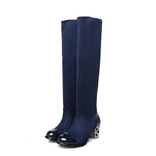AgooLar Damen Rein Hoch-Spitze Blend-Materialien Mittler Absatz Stiefel Blau