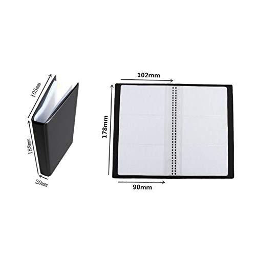 JackRuler Hochwertiges Schwarzes Leder Visitenkartenhalter Buch Wallet Cover Etui Folder eleganter für Damen & Herren (20 Plastikseiten ,120 Karten)