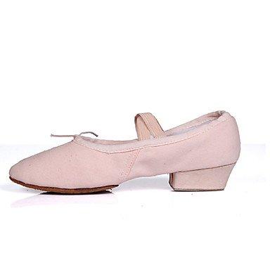 Ruhe @ Damen Dance Schuhe Salsa Satin Low Heel Schwarz/Rosa/Rot Rot