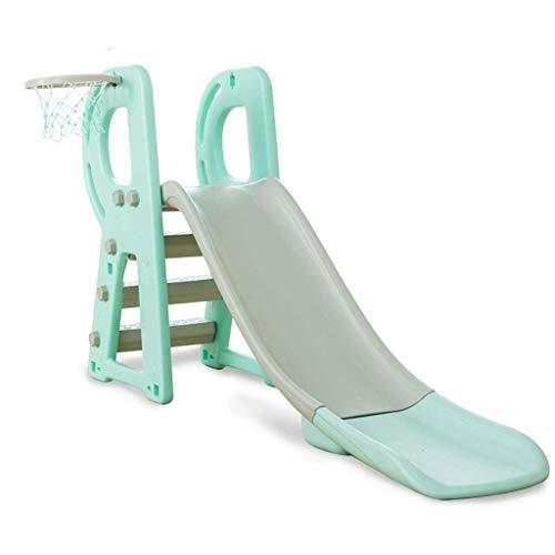PNYGJQ Sportkletterrutsche Kleine Kinderspielzeuge for Kinder mit Basketballkorb Aufbewahrungskombination Multifunktions-Klapprutsche Babyspielplatz (Farbe : Green)