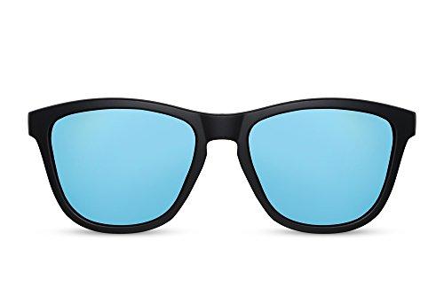 Cheapass Herren Sonnenbrille Matt-Schwarz Blau Verspiegelt-e Sport-Brille Fahrrad-Fahren Outdoor UV-400 Plastik Männer